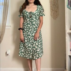 Green and white floral dress